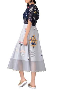 Blue embroidered top and skater skirt set