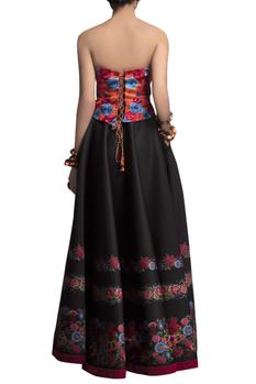Blue embroidered corset with skirt