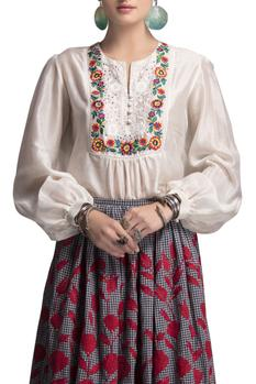 White top & check embroidered skirt