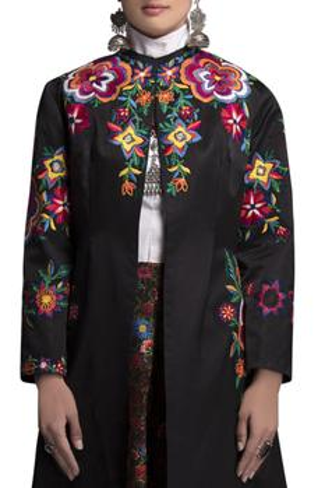 Embroidered midi jacket