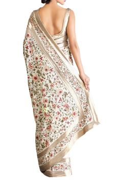 Off white pink shaded chiffon floral saree