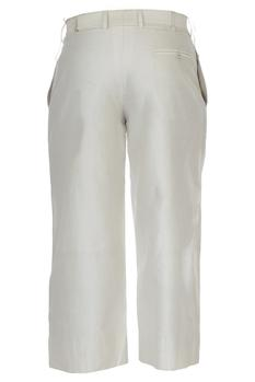 Cream chanderi cropped trousers