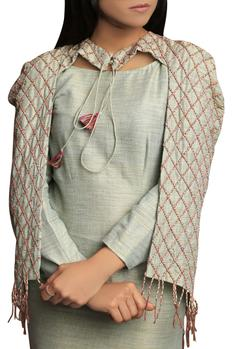 Handloom Dress with Embroidered Cape
