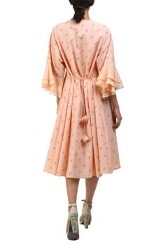 Salmon pink taj printed pleated cotton dress