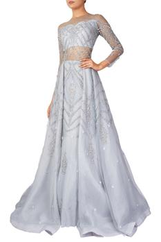 Embellished Organza Flared Gown