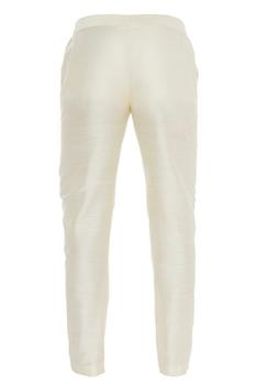 Cream raw silk slim fit pants