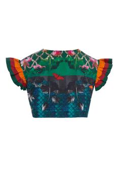 Multicolored handloom Cotton mermaid-floral printed blouse with ruffle short sleeves