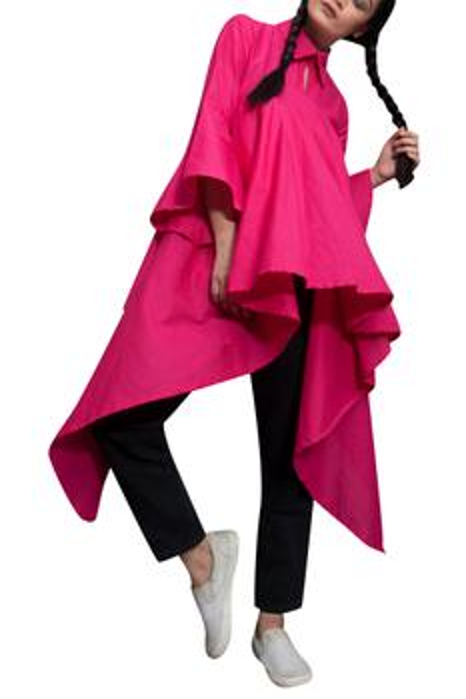 Pink collar style high-low shirt