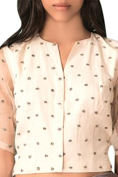 Ivory embroidered blouse with sheer organza layer