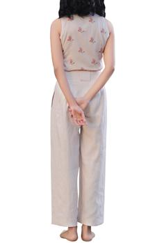 Beige linen high waisted wide-legged pants