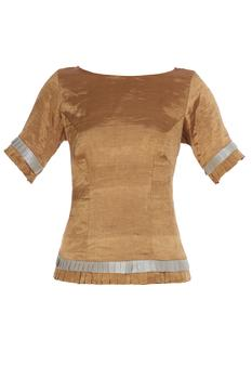 Gold pure tissue silk shiny blouse with frilly sleeves