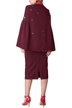 Plum frilly sleeve blouse with pencil skirt