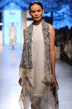 Ivory hand spun cotton scribble art embroidered sleeveless jacket