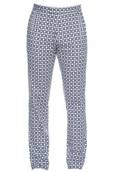 Black & white jaali printed cotton satin lycra pants