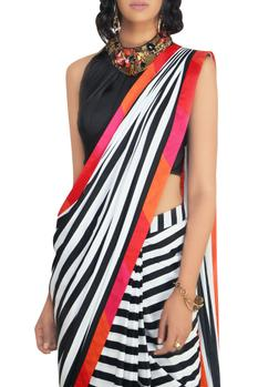 Stripe crepe silk and satin saree with blouse & belt