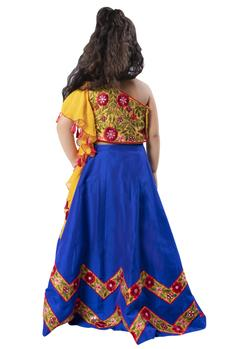 Embroidered blouse with mirror work lehenga