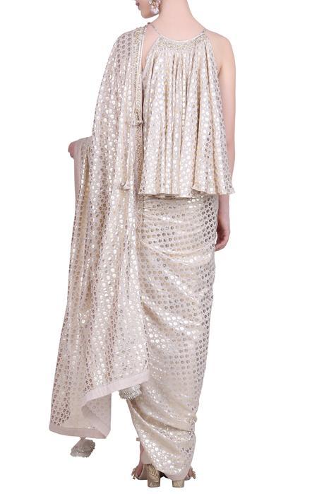 Foil print dhoti saree set