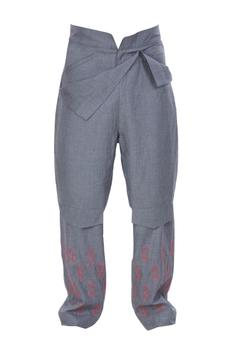 Front flap style pants with embroidery