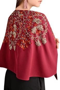 Crepe bugle bead embroidered cape