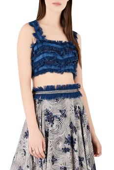 Denim fringe blouse with printed lehenga