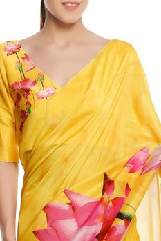 Chanderi lotus floral printed saree with blouse piece