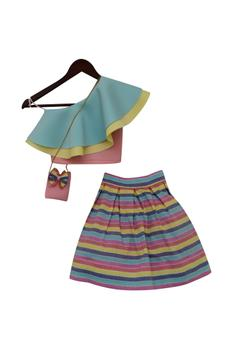 Crop top with stripe skirt