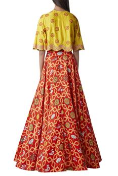 Embroidered cape top with printed lehenga