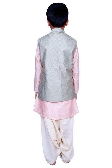 Kurta with foil print jacket & salwar