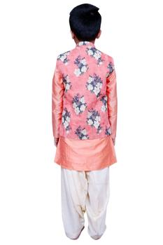 Floral printed jacket with kurta and churidar