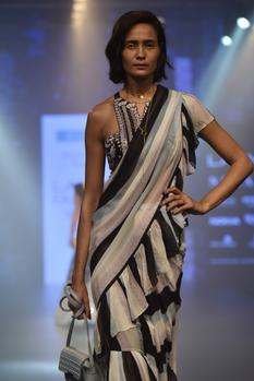 Striped ruffle saree & embroidered blouse