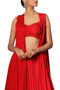 Sequin blouse with jacket and lehenga