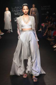 Embroidered cape with bralette & dhoti pants