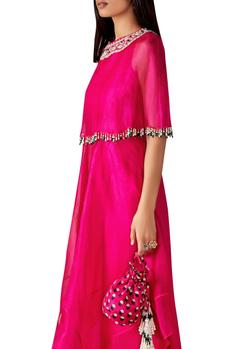 Embellished cape tunic with gharara pants