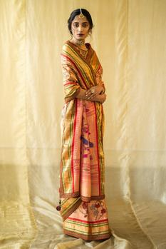 Hand Painted Paithani Silk Saree with Blouse