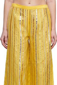 Embroidered Striped Palazzos