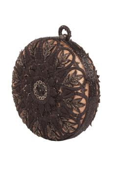 Floral Embroidered Circular Clutch