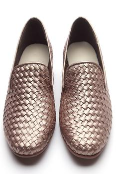 Metallic Leather Textured Loafers