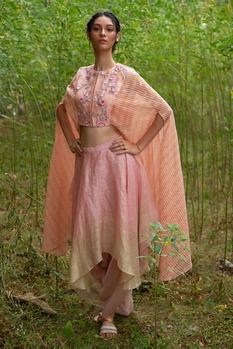 Floral Embroidered Cape Top with Skirt
