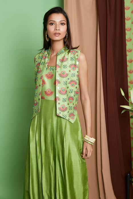 Chanderi Silk Jumpsuit with Jacket