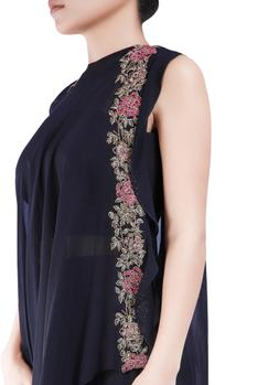 Black bugle bead embroidered floral cape