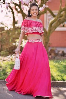 Embroidered Off-Shoulder Lehenga Set