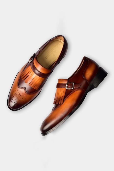 Single Monk Strap Kiltie Brogue Shoes