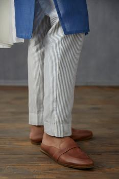 Handwoven Chanderi Striped Pants