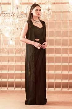 Pre-Draped Saree with Embroidered Blouse & Jacket