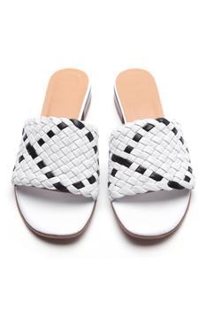 Colorblock Leather Textured Sandals