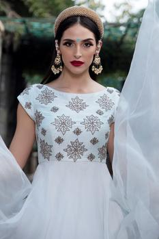 Embroidered Organza Gown