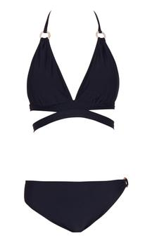 Black halter neck cut-out bikini