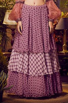 Ruched Blouse & Printed Skirt Set