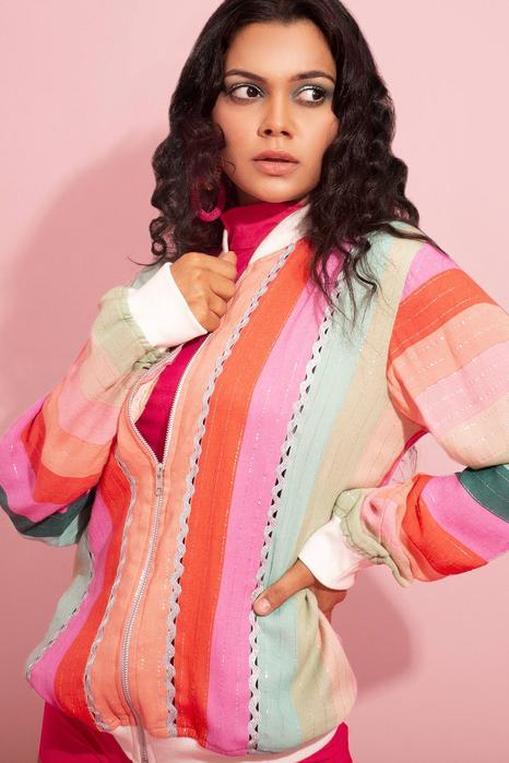 Striped Colorblock Jacket