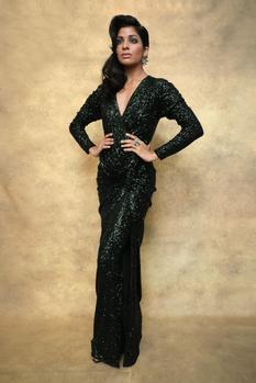 Embroidered Silk Jersey Gown